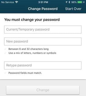 SAFE Credit Union Mobile App change password