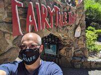 Fairy Tale Town employee wears Stay SAFE mask from SAFE Credit Union