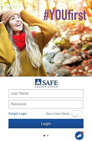 SAFE Credit Union Mobile App Message of day