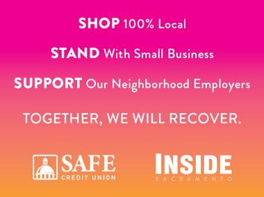 Shop 100 percent local pledge sign